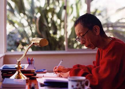 Venerable Geshe-la writing