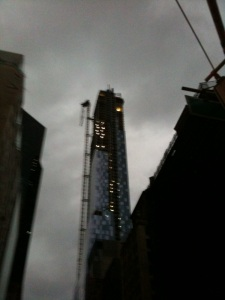crane in Manhattan in Hurricane Sandy