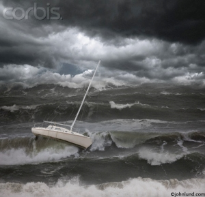 Sailboat on the Ocean in a Storm