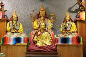Geshe-la statue in temple at Manjushri Centre England