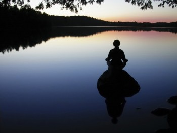 meditation at lake