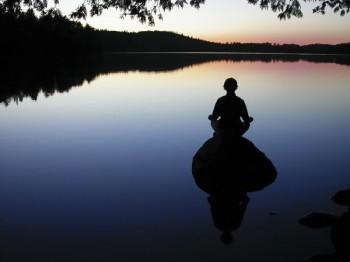 meditation at lake