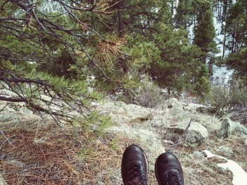shoes on mountain