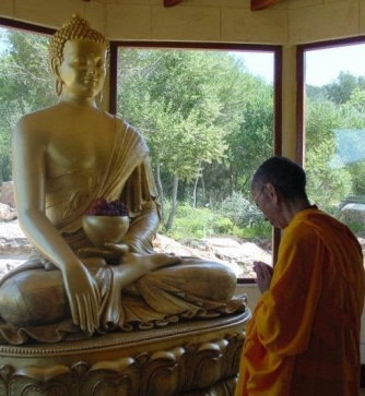 Geshe-la prostrating to Buddha high res