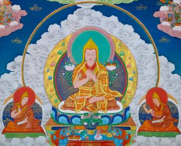 Je Tsongkhapa on clouds