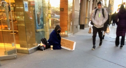 Homeless at Columbus Circle