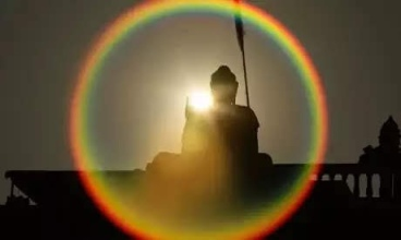 Buddha in rainbow