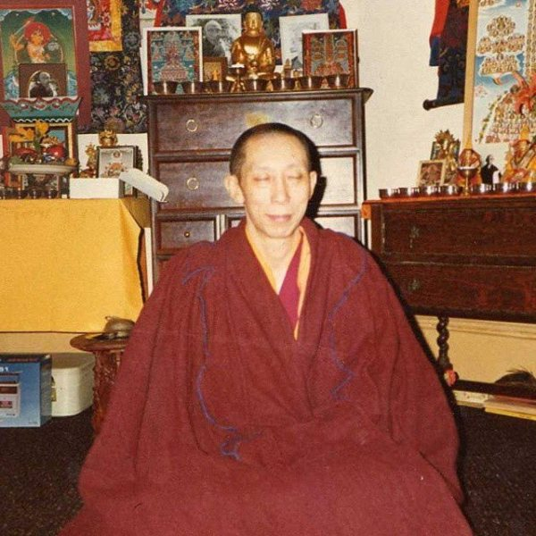 Geshe-la meditating in his room
